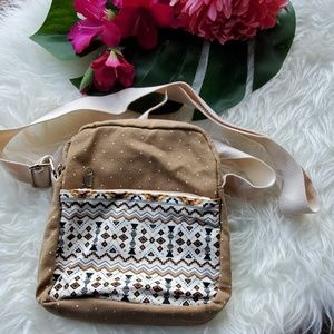 Unbranded Tan Tribal Print Cross Body Bag